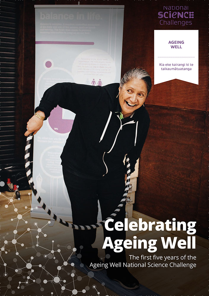 Photo of the cover of the book 'Celebrating Ageing Well', featuring an energetic and happy looking older woman trying to balance on a foam block with a hula hoop around her waist.
